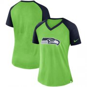 Wholesale Cheap Women's Seattle Seahawks Nike Neon Green-College Navy Top V-Neck T-Shirt