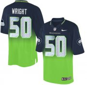Wholesale Cheap Nike Seahawks #50 K.J. Wright Steel Blue/Green Men's Stitched NFL Elite Fadeaway Fashion Jersey