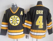 Wholesale Cheap Bruins #4 Bobby Orr Black/Yellow CCM Throwback Stitched NHL Jersey