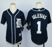 Wholesale Cheap Tigers #1 Jose Iglesias Navy Blue Cool Base Stitched Youth MLB Jersey