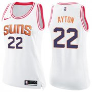 Wholesale Cheap Women's Nike Phoenix Suns #22 Deandre Ayton White Pink NBA Swingman Fashion Jersey