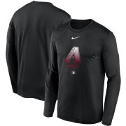 Wholesale Cheap Men's Arizona Diamondbacks Nike Black Authentic Collection Legend Performance Long Sleeve T-Shirt