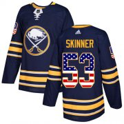Wholesale Cheap Adidas Sabres #53 Jeff Skinner Navy Blue Home Authentic USA Flag Youth Stitched NHL Jersey