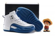 Wholesale Cheap Kids' Air Jordan 12 Shoes French Blue/white