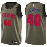 Wholesale Cheap Nike Pistons #40 Bill Laimbeer Green Salute to Service NBA Swingman Jersey