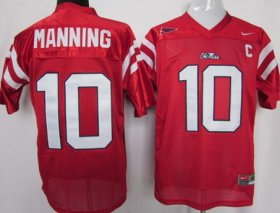 Wholesale Cheap Ole Miss Rebels #10 Eli Manning Red Jersey