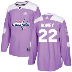 Wholesale Cheap Adidas Capitals #22 Madison Bowey Purple Authentic Fights Cancer Stitched NHL Jersey