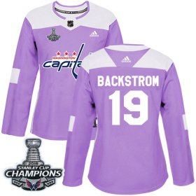 Wholesale Cheap Adidas Capitals #19 Nicklas Backstrom Purple Authentic Fights Cancer Stanley Cup Final Champions Women\'s Stitched NHL Jersey