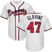 Wholesale Cheap Braves #47 Tom Glavine White Team Logo Fashion Stitched MLB Jersey