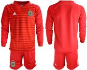 Wholesale Cheap Argentina Blank Red Long Sleeves Goalkeeper Soccer Country Jersey