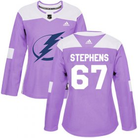 Cheap Adidas Lightning #67 Mitchell Stephens Purple Authentic Fights Cancer Women\'s Stitched NHL Jersey