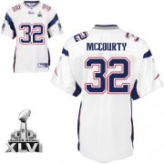 Wholesale Cheap Patriots #32 Devin McCourty White Super Bowl XLVI Embroidered NFL Jersey