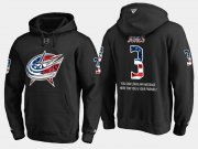 Wholesale Cheap Blue Jackets #3 Seth Jones NHL Banner Wave Usa Flag Black Hoodie