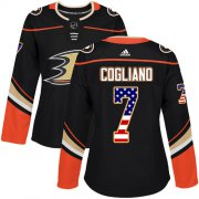 Wholesale Cheap Adidas Ducks #7 Andrew Cogliano Black Home Authentic USA Flag Women's Stitched NHL Jersey