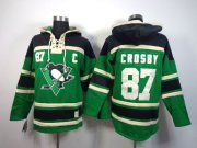 Wholesale Cheap Penguins #87 Sidney Crosby Green St. Patrick's Day McNary Lace Hoodie Stitched NHL Jersey