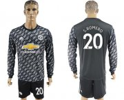 Wholesale Cheap Manchester United #20 S.Romero Black Long Sleeves Soccer Club Jersey