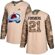 Wholesale Cheap Adidas Avalanche #21 Peter Forsberg Camo Authentic 2017 Veterans Day Stitched Youth NHL Jersey