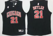 Wholesale Cheap Men's Chicago Bulls #21 Jimmy Butler All Black With Red Stitched NBA Adidas Revolution 30 Swingman Jersey