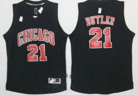 Wholesale Cheap Men\'s Chicago Bulls #21 Jimmy Butler All Black With Red Stitched NBA Adidas Revolution 30 Swingman Jersey