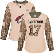 Wholesale Cheap Adidas Coyotes #17 Alex Galchenyuk Camo Authentic 2017 Veterans Day Women's Stitched NHL Jersey