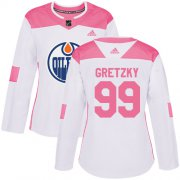 Wholesale Cheap Adidas Oilers #99 Wayne Gretzky White/Pink Authentic Fashion Women's Stitched NHL Jersey