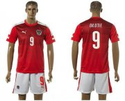 Wholesale Cheap Austria #9 Okotie Red Home Soccer Country Jersey