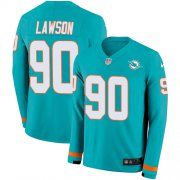 Wholesale Cheap Nike Dolphins #90 Shaq Lawson Aqua Green Team Color Youth Stitched NFL Limited Therma Long Sleeve Jersey