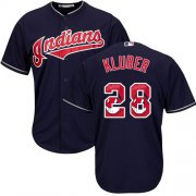 Wholesale Cheap Indians #28 Corey Kluber Navy Blue Team Logo Fashion Stitched MLB Jersey