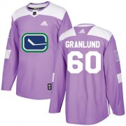 Wholesale Cheap Adidas Canucks #60 Markus Granlund Purple Authentic Fights Cancer Stitched NHL Jersey