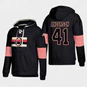 Wholesale Cheap Ottawa Senators #41 Craig Anderson Black adidas Lace-Up Pullover Hoodie