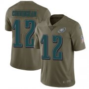 Wholesale Cheap Nike Eagles #12 Randall Cunningham Olive Youth Stitched NFL Limited 2017 Salute to Service Jersey