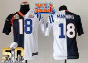 Wholesale Cheap Nike Colts #18 Peyton Manning Blue/White Super Bowl XLI & Super Bowl 50 Youth Stitched NFL Elite Split Broncos Jersey