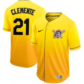 Wholesale Cheap Nike Pirates #21 Roberto Clemente Gold Fade Authentic Stitched MLB Jersey