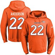 Wholesale Cheap Nike Broncos #22 C.J. Anderson Orange Name & Number Pullover NFL Hoodie