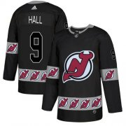 Wholesale Cheap Adidas Devils #9 Taylor Hall Black Authentic Team Logo Fashion Stitched NHL Jersey
