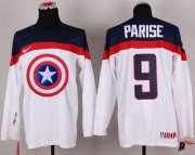 Wholesale Cheap Olympic Team USA #9 Zach Parise White Captain America Fashion Stitched NHL Jersey