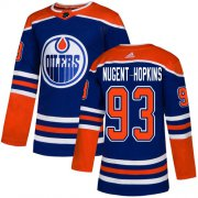 Wholesale Cheap Adidas Oilers #93 Ryan Nugent-Hopkins Royal Alternate Authentic Stitched Youth NHL Jersey