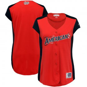 Wholesale Cheap American League Blank Majestic Women\'s 2019 MLB All-Star Game Workout Team Jersey Red Navy