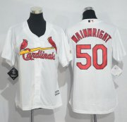 Wholesale Cheap Cardinals #50 Adam Wainwright White Women's Home Stitched MLB Jersey