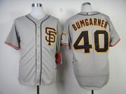 Wholesale Cheap Giants #40 Madison Bumgarner Grey Road 2 Cool Base Stitched MLB Jersey