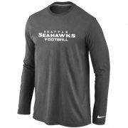 Wholesale Cheap Nike Seattle Seahawks Authentic Font Long Sleeve T-Shirt Dark Grey