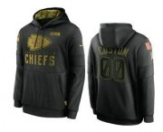 Wholesale Cheap Men's Kansas City Chiefs Custom Black 2020 Salute To Service Sideline Performance Pullover Hoodie
