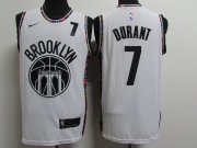 Wholesale Cheap Nets 7 Kevin Durant White 2020-2021 City Edition Nike Swingman Jersey