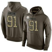 Wholesale Cheap NFL Men's Nike Pittsburgh Steelers #91 Kevin Greene Stitched Green Olive Salute To Service KO Performance Hoodie