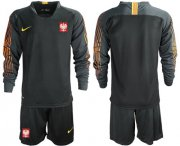 Wholesale Cheap Poland Blank Black Goalkeeper Long Sleeves Soccer Country Jersey