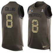 Wholesale Cheap Nike Patriots #8 Jamie Collins Sr Green Men's Stitched NFL Limited Salute To Service Tank Top Jersey