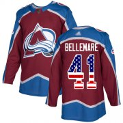 Wholesale Cheap Adidas Avalanche #41 Pierre-Edouard Bellemare Burgundy Home Authentic USA Flag Stitched Youth NHL Jersey