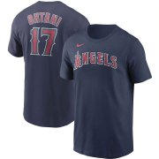 Wholesale Cheap Los Angeles Angels #17 Shohei Ohtani Nike Name & Number T-Shirt Navy