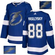 Wholesale Cheap Adidas Lightning #88 Andrei Vasilevskiy Blue Home Authentic Fashion Gold Stitched NHL Jersey