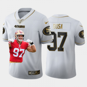 Cheap San Francisco 49ers #97 Nick Bosa Nike Team Hero 3 Vapor Limited NFL 100 Jersey White Golden